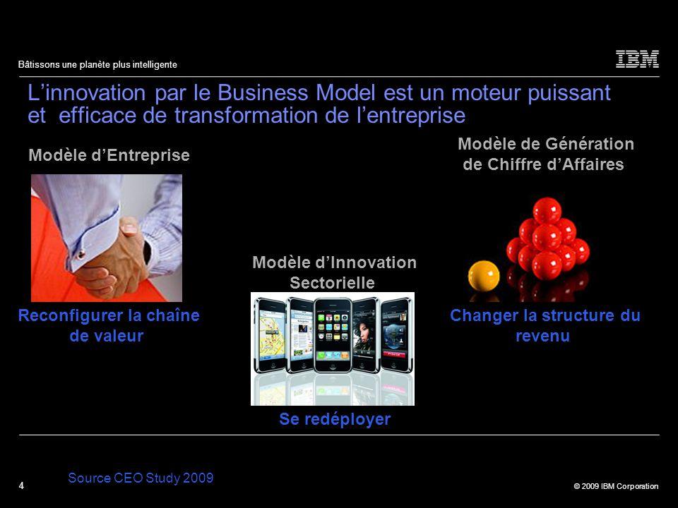 4 © 2009 IBM Corporation Bâtissons une planète plus intelligente Linnovation par le Business Model est un moteur puissant et efficace de transformatio