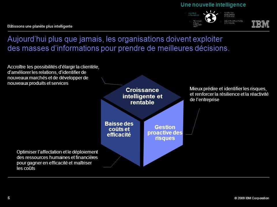 6 © 2009 IBM Corporation Bâtissons une planète plus intelligente Aujourdhui plus que jamais, les organisations doivent exploiter des masses dinformati