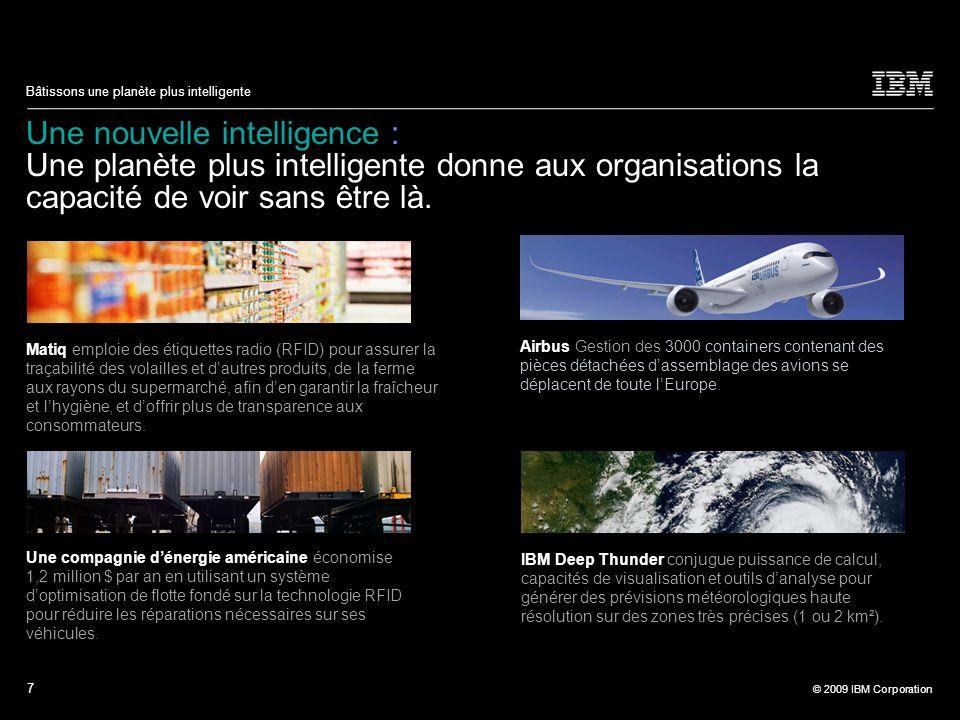 7 © 2009 IBM Corporation Bâtissons une planète plus intelligente Une nouvelle intelligence : Une planète plus intelligente donne aux organisations la