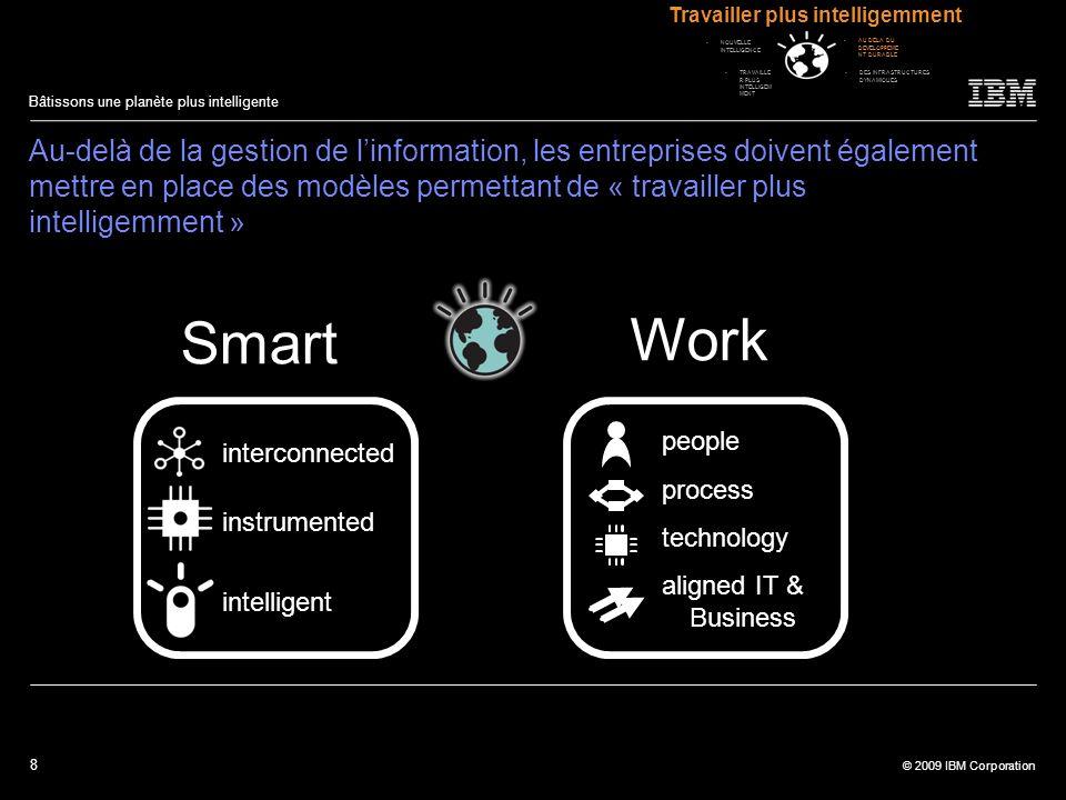 8 © 2009 IBM Corporation Bâtissons une planète plus intelligente Au-delà de la gestion de linformation, les entreprises doivent également mettre en pl