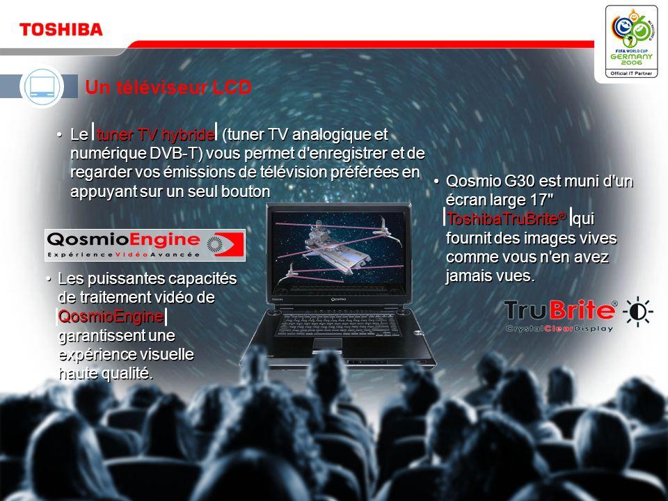 Mai 200610 / Qosmio G30 HD DVD Qosmio – votre solution 4-en-1 pour le divertissement numérique et l informatique mobile Un lecteur HD DVD et un combiné disque dur/enregistreur DVD Un téléviseur LCD Un système audio à effet surround virtuel Un ordinateur puissant et polyvalent
