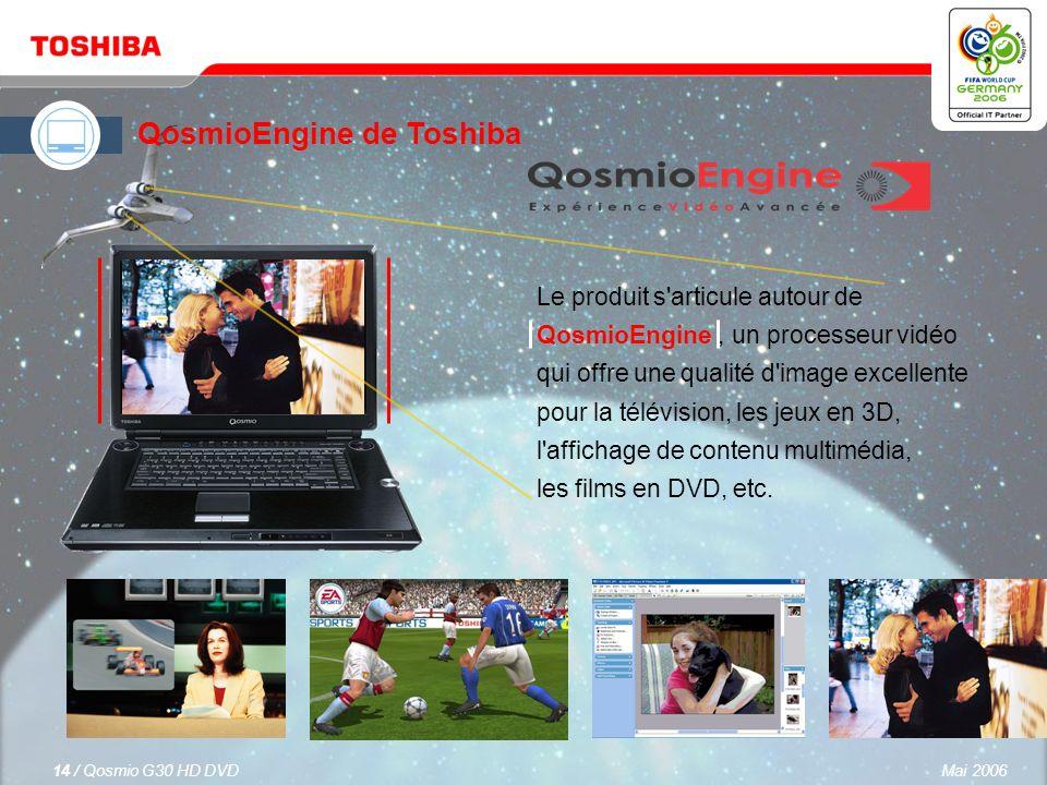 Mai 200613 / Qosmio G30 HD DVD L écran WUXGA+ 17 Toshiba TruBrite ® offre une résolution de 1 920 x 1 200 pour des images nettes qui prend en charge un format de signal de 1 080 p.