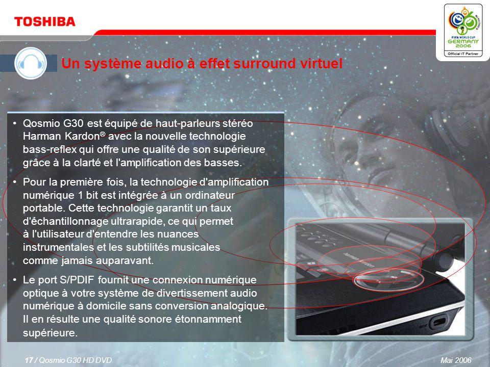 Mai 200616 / Qosmio G30 HD DVD Haut-parleurs Harman Kardon ®, leader du marché, avec technologie bass-reflex. Qosmio G30 est le premier ordinateur por