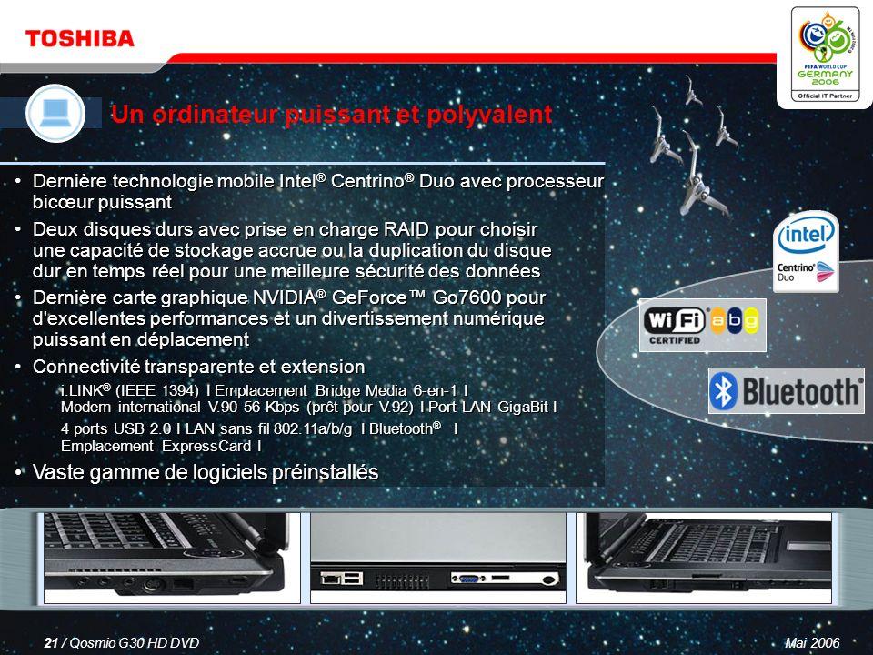 Mai 200620 / Qosmio G30 HD DVD Un téléviseur LCD Un combiné disque dur/enregistreur DVD Un système audio à effet surround virtuel Un ordinateur puissant et polyvalent Qosmio – votre solution 4-en-1 pour le divertissement numérique et l informatique mobile