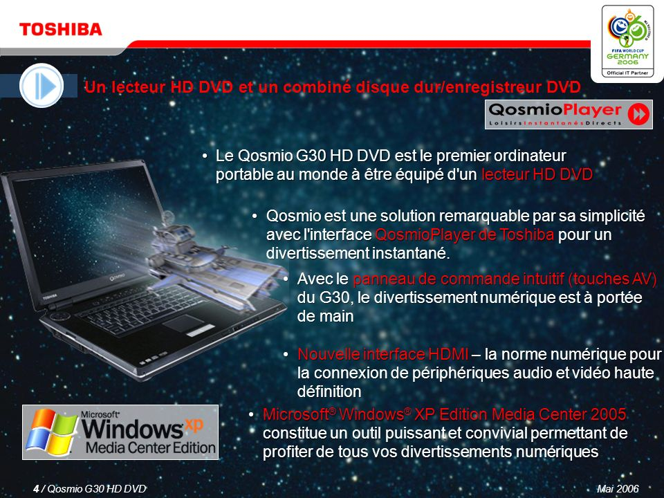Mai 20063 / Qosmio G30 HD DVD Un lecteur HD DVD et un combiné disque dur/enregistreur DVD Un téléviseur LCD Un système audio à effet surround virtuel Un ordinateur puissant et polyvalent Qosmio – votre solution 4-en-1 pour le divertissement numérique et l informatique mobile
