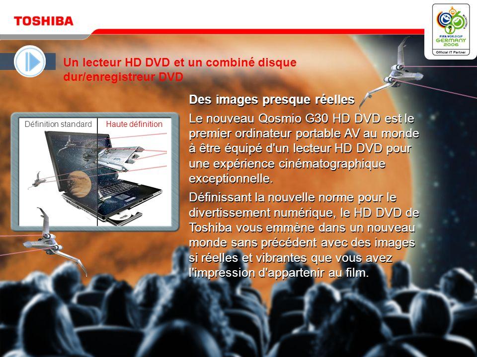 Mai 20064 / Qosmio G30 HD DVD Microsoft ® Windows ® XP Edition Media Center 2005 constitue un outil puissant et convivial permettant de profiter de tous vos divertissements numériques Qosmio est une solution remarquable par sa simplicité avec l interface QosmioPlayer de Toshiba pour un divertissement instantané.