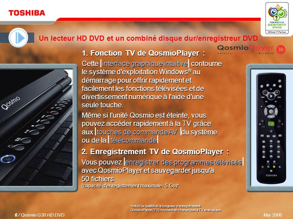 Mai 20065 / Qosmio G30 HD DVD Des images presque réelles Le nouveau Qosmio G30 HD DVD est le premier ordinateur portable AV au monde à être équipé d un lecteur HD DVD pour une expérience cinématographique exceptionnelle.