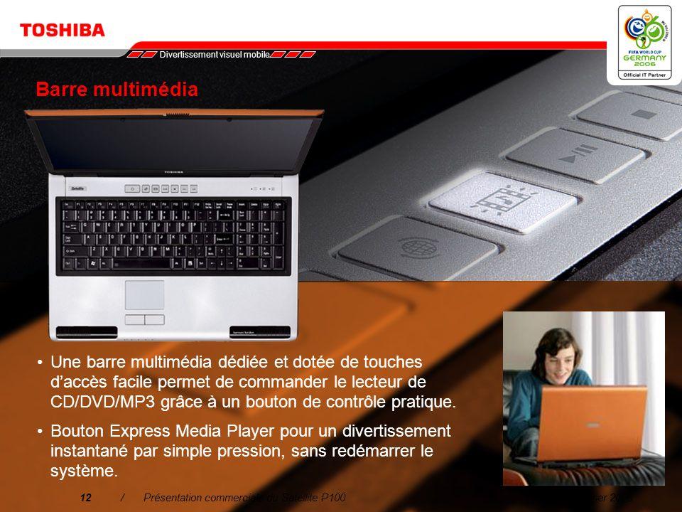 Février 200611/Présentation commerciale du Satellite P100 2. Divertissement visuel mobile Les images nettes et riches en détails affichées sur lécran