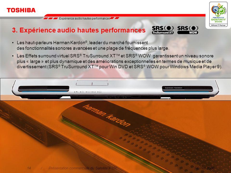 Février 200613/Présentation commerciale du Satellite P100 Bénéficiez de performances graphiques Graphiques et performances exceptionnels pour les jeux