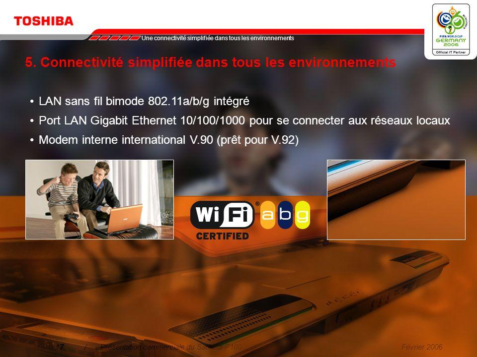 Février 200616/Présentation commerciale du Satellite P100 4. Facilité d'utilisation La nouvelle télécommande Toshiba sinsère élégamment dans lemplacem