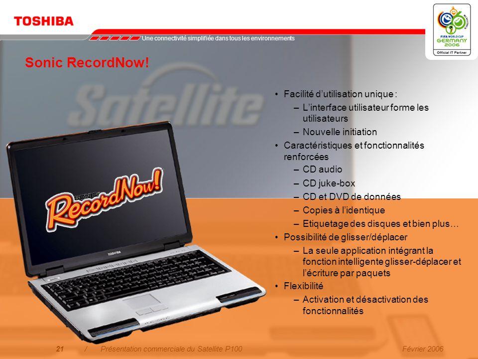 Février 200620/Présentation commerciale du Satellite P100 * non disponible dans tous les pays Logiciel fourni à valeur ajoutée Sonic RecordNow! permet