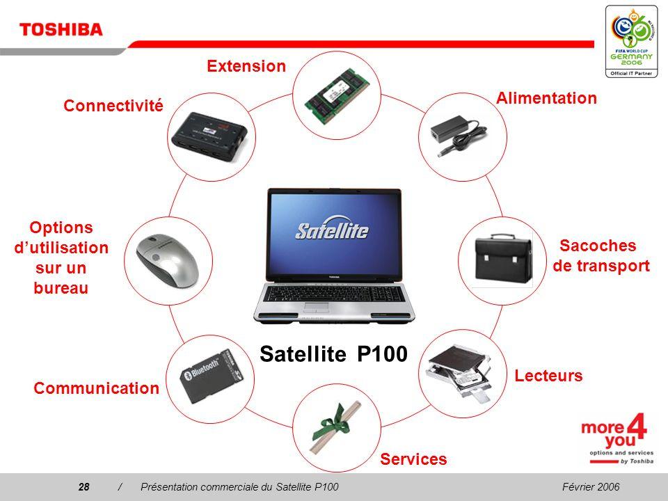 Février 200627/Présentation commerciale du Satellite P100 Processeur/Technologie : Technologie mobile Intel ® Centrino ® Duo avec processeur Intel ® C