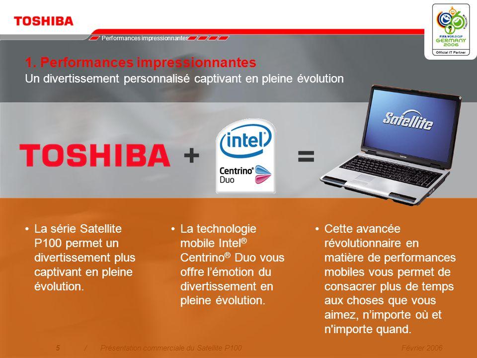 Février 20064/Présentation commerciale du Satellite P100 1.Performances impressionnantes La nouvelle technologie mobile Intel ® Centrino ® Duo offre u