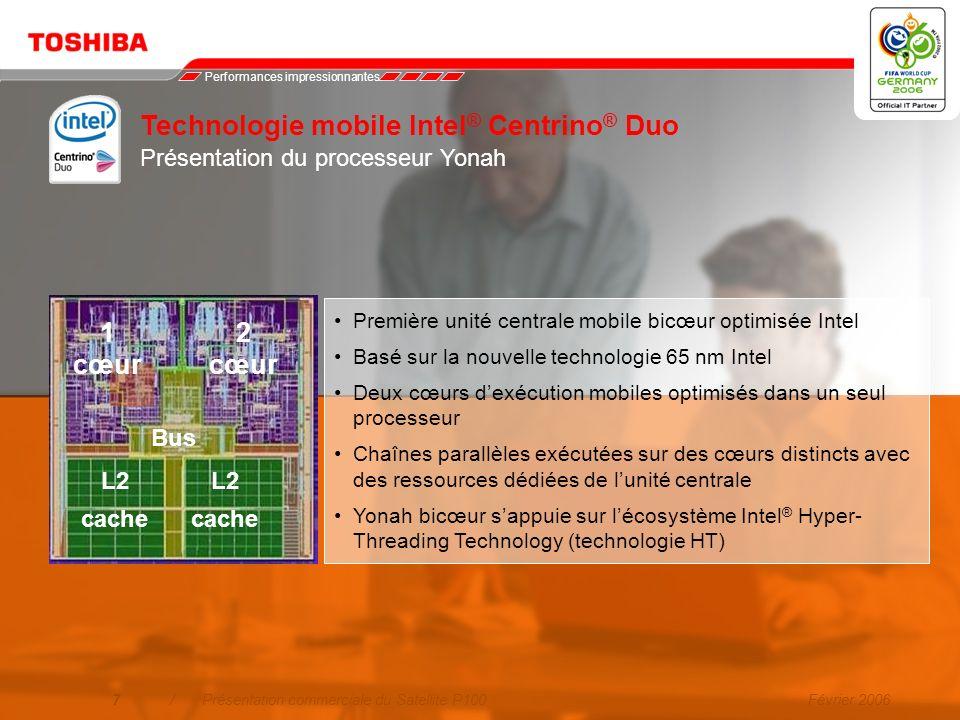 Février 20066/Présentation commerciale du Satellite P100 Performances révolutionnaires Une nouvelle expérience avec le double cœur : plus de réactivit