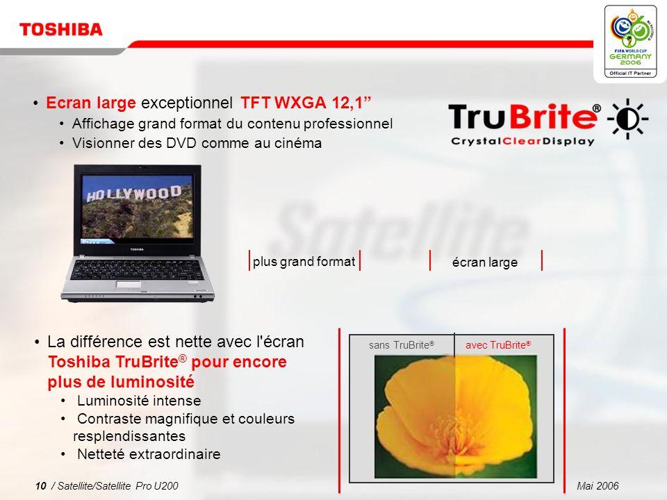 Mai 20069 / Satellite/Satellite Pro U200 1 2 3 4 5 Pourquoi choisir la série Satellite/Satellite Pro U200 .