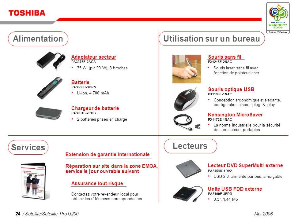 Mai 200623 / Satellite/Satellite Pro U200 Tuner TV USB DVB-T PX1211E-1TVD Télévision terrestre numérique compatible DVB-T gratuite, antenne incluse* Adaptateur USB Bluetooth PA3477U-1BTM Casque stéréo sans fil PX1224E-2EPH Bluetooth ® V 2.0, USB 2.0 2-en-1 .