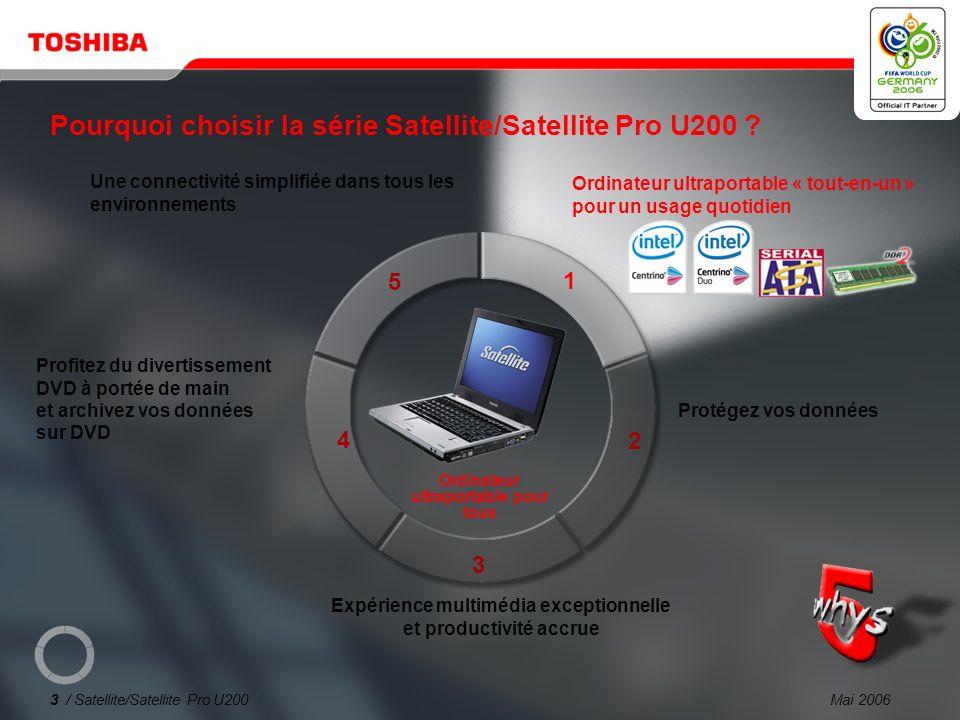 Mai 20063 / Satellite/Satellite Pro U200 1 2 3 4 5 Pourquoi choisir la série Satellite/Satellite Pro U200 .