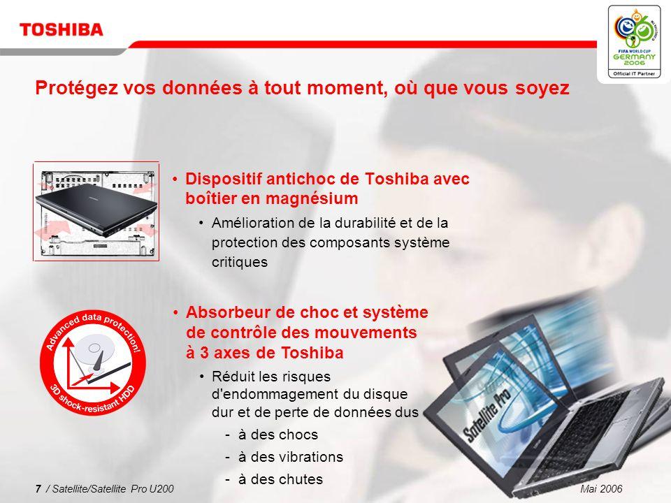 Mai 20067 / Satellite/Satellite Pro U200 Protégez vos données à tout moment, où que vous soyez Dispositif antichoc de Toshiba avec boîtier en magnésium Amélioration de la durabilité et de la protection des composants système critiques Absorbeur de choc et système de contrôle des mouvements à 3 axes de Toshiba Réduit les risques d endommagement du disque dur et de perte de données dus à des chocs à des vibrations à des chutes