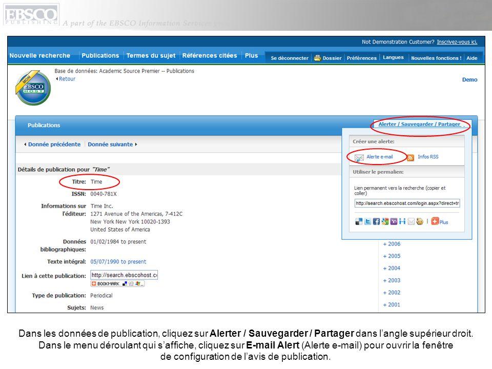 Configurez vos paramètres dalerte, ajoutez votre adresse e-mail et cliquez sur Sauvegarder lalerte.