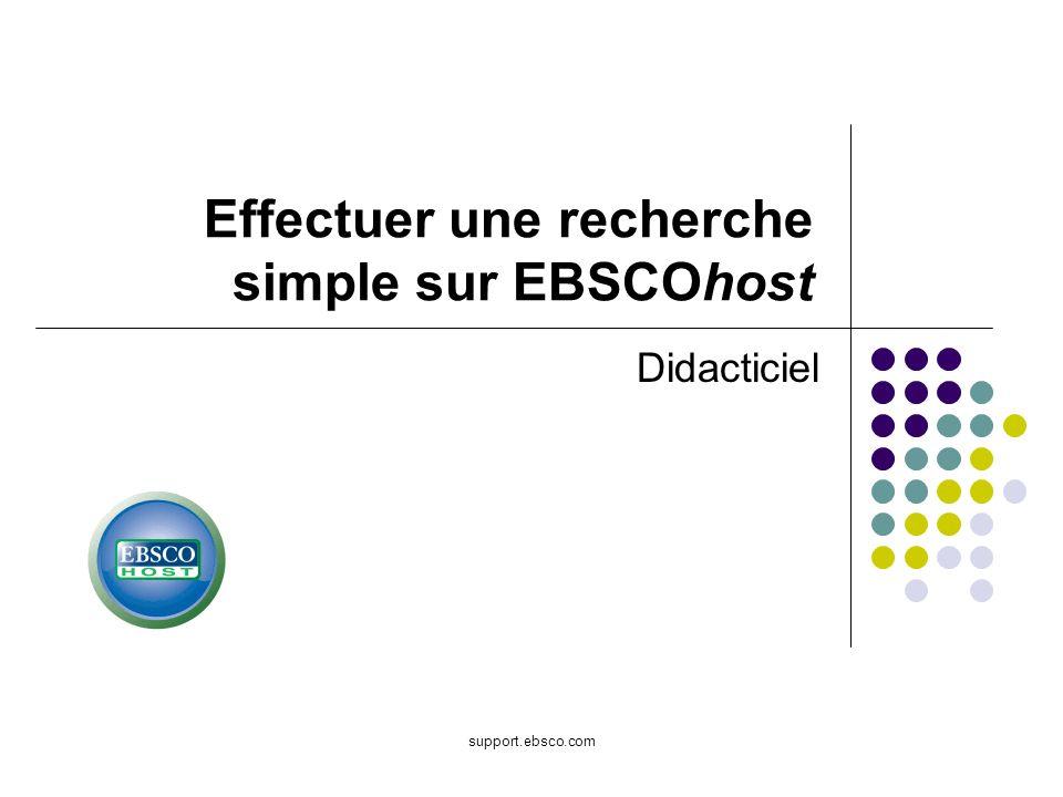 Bienvenue dans le didacticiel EBSCO expliquant comment effectuer une recherche simple sur EBSCOhost.