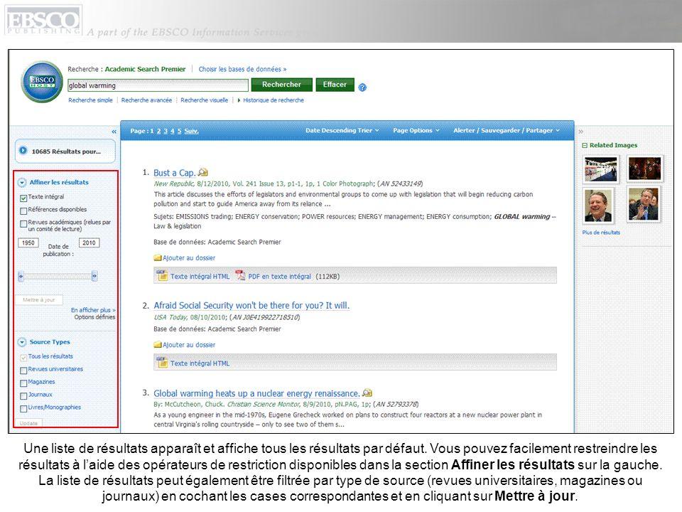 Vous pouvez imprimer, envoyer par e-mail, sauvegarder, citer ou exporter un seul résultat à partir des données détaillées en cliquant sur un lien contenu dans un titre darticle.