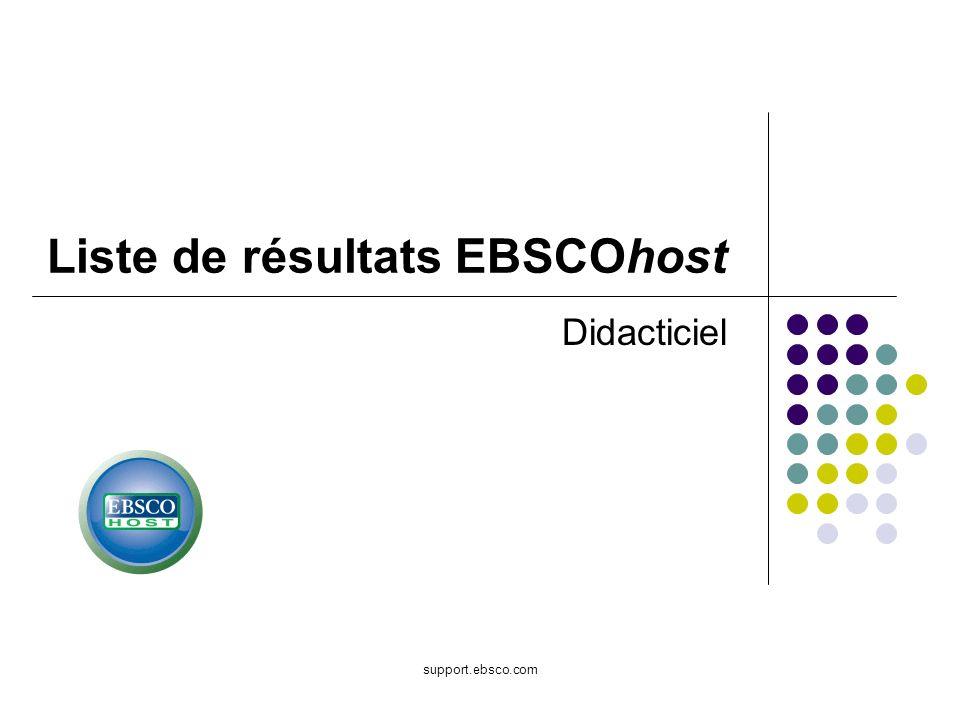 Bienvenue dans le didacticiel traitant de la liste de résultats EBSCOhost.