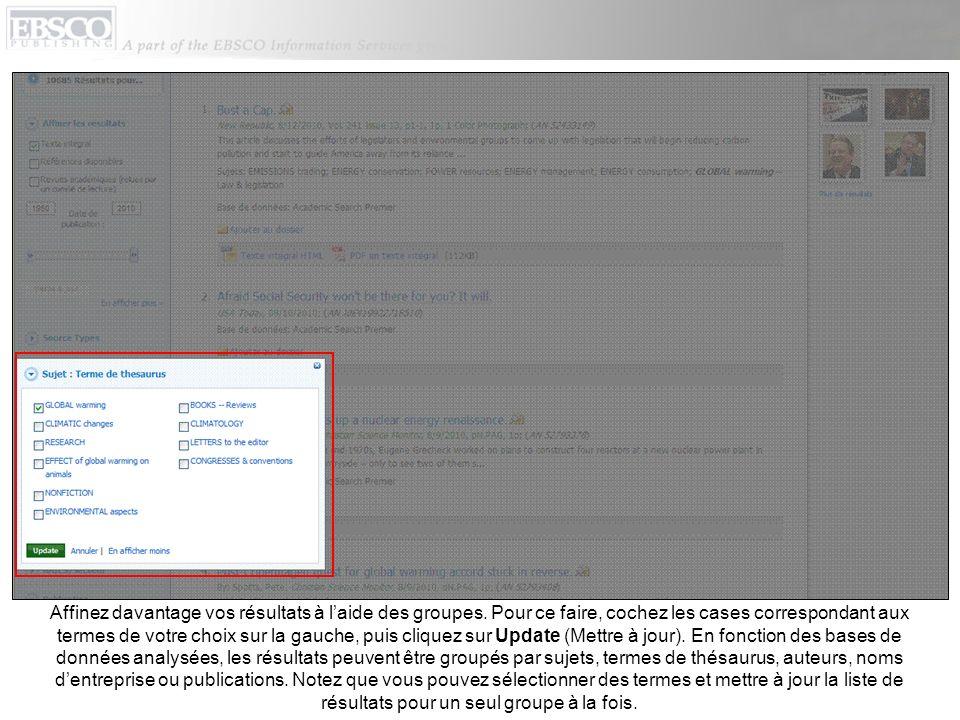 Lorsque vous affinez vos résultats de recherche à laide dopérateurs de restriction, de types de source et de groupes, chaque élément est ajouté à la « Bread Box » qui se trouve dans la partie supérieure de la colonne de gauche.