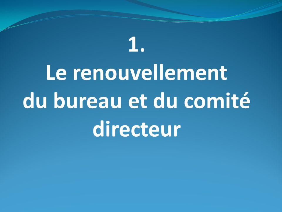 1. Le renouvellement du bureau et du comité directeur
