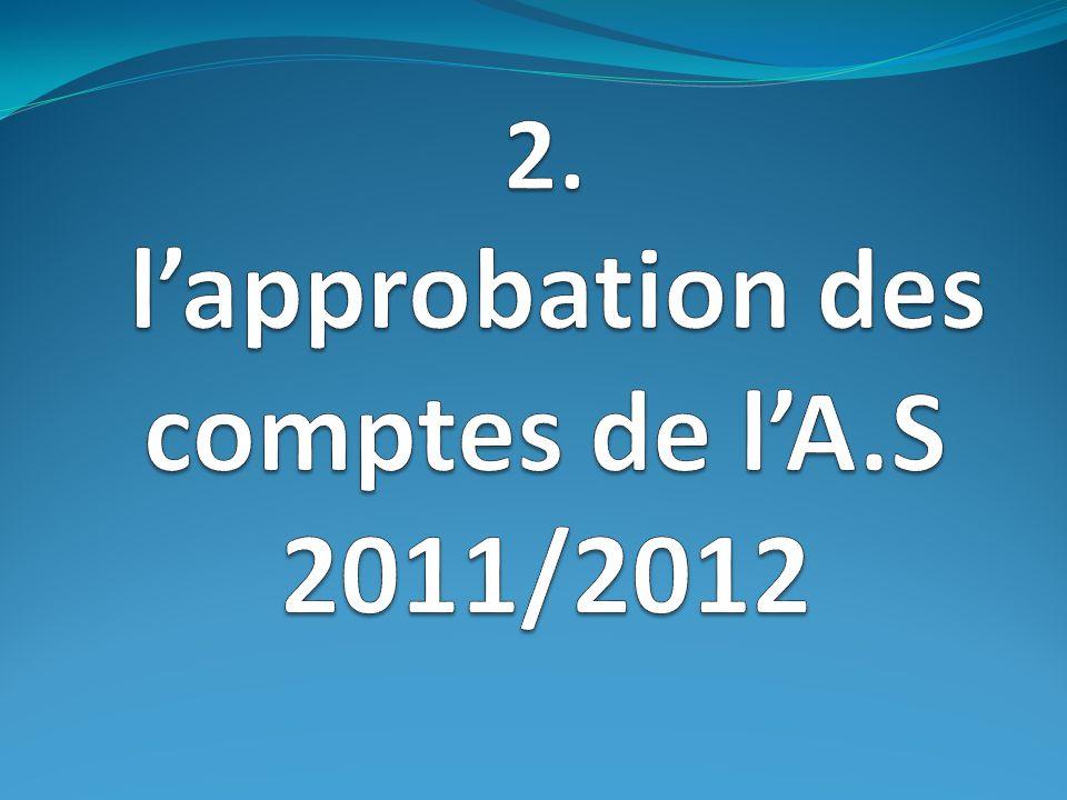Nous passons ensuite à lapprobation des comptes 2011/2012.