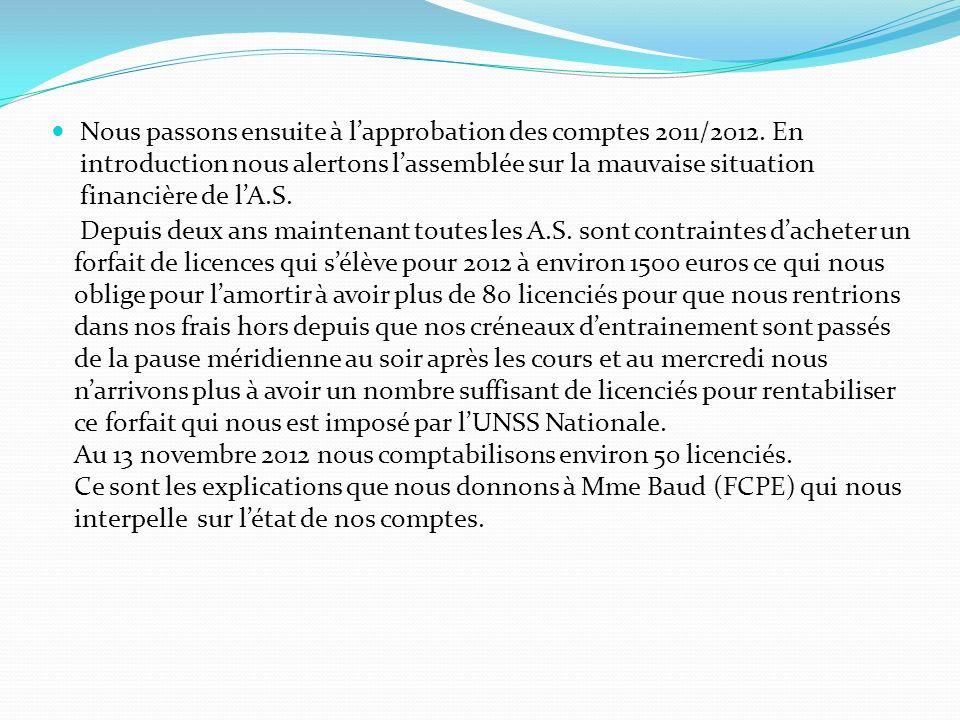 Nous passons ensuite à lapprobation des comptes 2011/2012. En introduction nous alertons lassemblée sur la mauvaise situation financière de lA.S. Depu