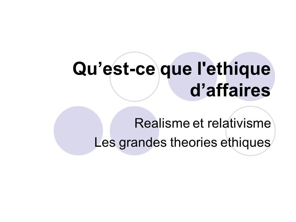 Quest-ce que l ethique daffaires Realisme et relativisme Les grandes theories ethiques