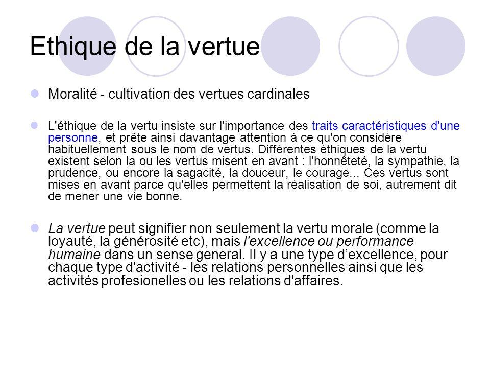 Ethique de la vertue Moralité - cultivation des vertues cardinales L éthique de la vertu insiste sur l importance des traits caractéristiques d une personne, et prête ainsi davantage attention à ce qu on considère habituellement sous le nom de vertus.