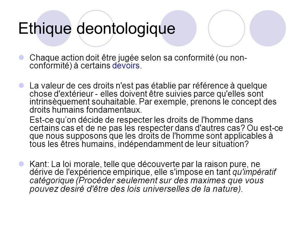 Ethique deontologique Chaque action doit être jugée selon sa conformité (ou non- conformité) à certains devoirs.