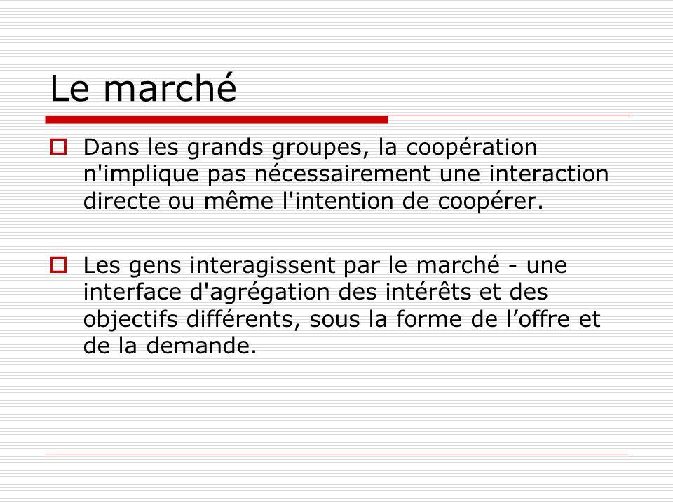 Le marché Dans les grands groupes, la coopération n implique pas nécessairement une interaction directe ou même l intention de coopérer.