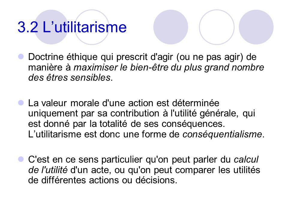 3.2 Lutilitarisme Doctrine éthique qui prescrit d'agir (ou ne pas agir) de manière à maximiser le bien-être du plus grand nombre des êtres sensibles.