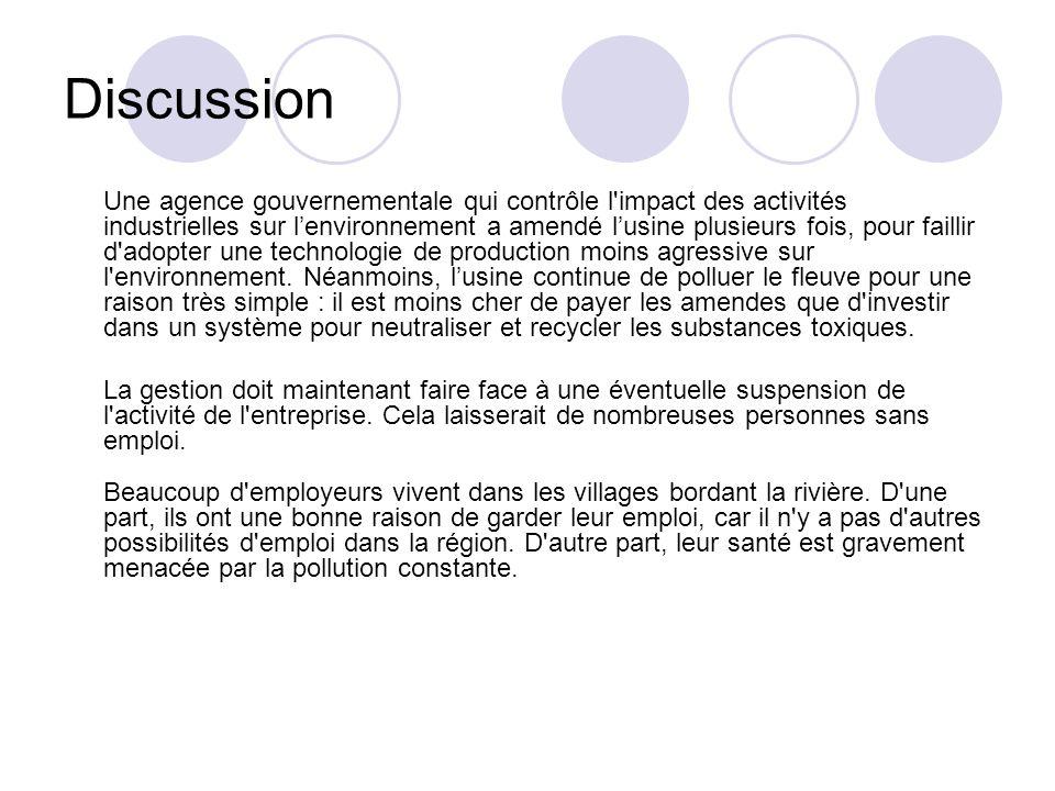 Discussion Une agence gouvernementale qui contrôle l'impact des activités industrielles sur lenvironnement a amendé lusine plusieurs fois, pour failli