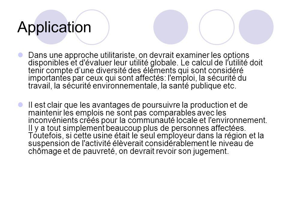 Application Dans une approche utilitariste, on devrait examiner les options disponibles et d'évaluer leur utilité globale. Le calcul de l'utilité doit