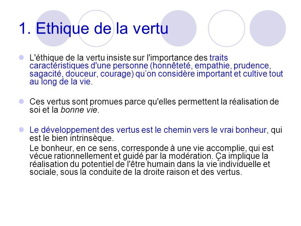 1. Ethique de la vertu L'éthique de la vertu insiste sur l'importance des traits caractéristiques d'une personne (honnêteté, empathie, prudence, sagac
