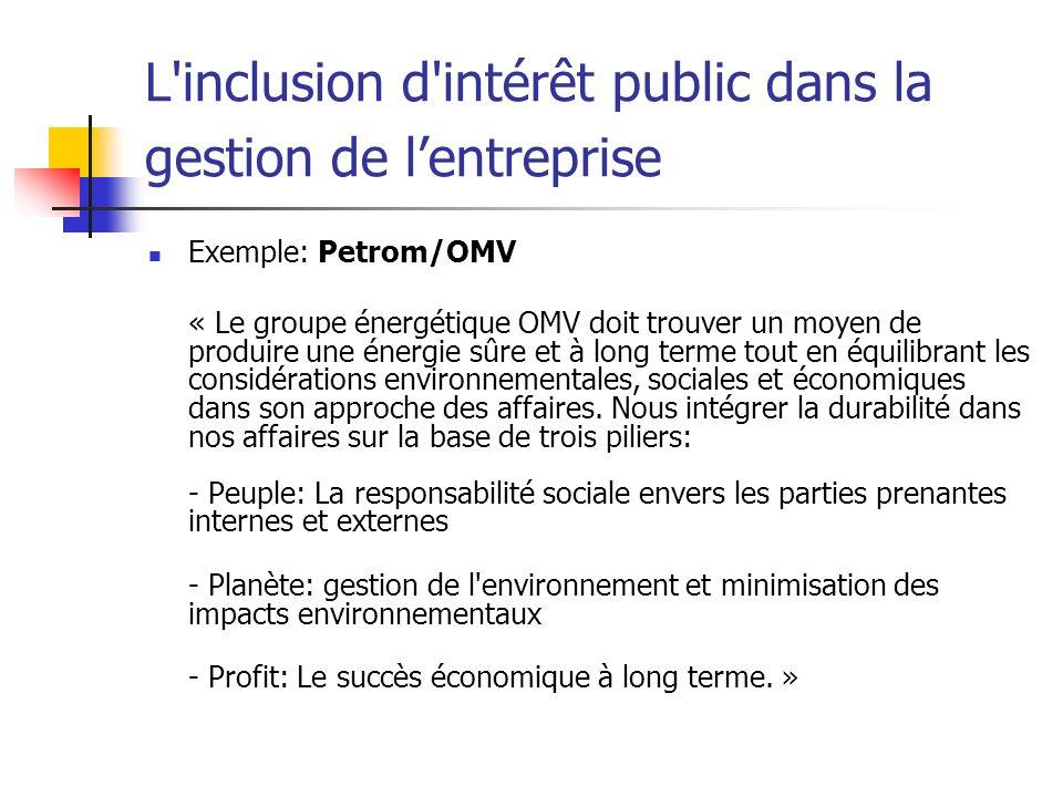 L'inclusion d'intérêt public dans la gestion de lentreprise Exemple: Petrom/OMV « Le groupe énergétique OMV doit trouver un moyen de produire une éner