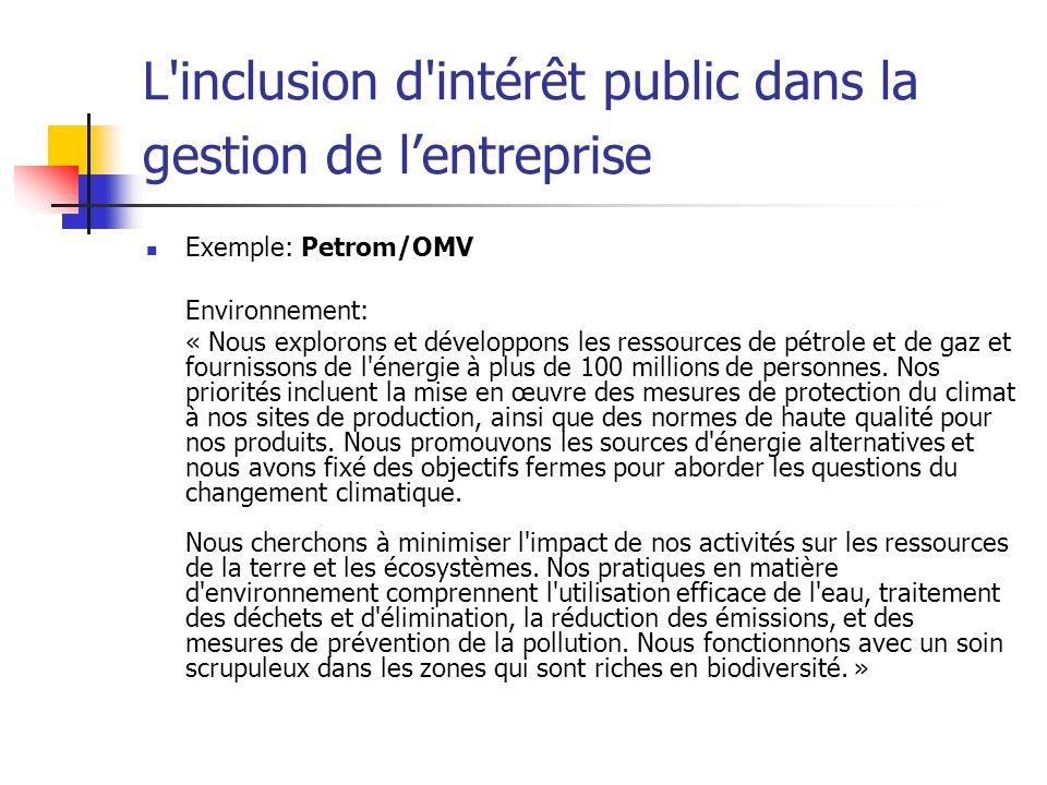 L'inclusion d'intérêt public dans la gestion de lentreprise Exemple: Petrom/OMV Environnement: « Nous explorons et développons les ressources de pétro