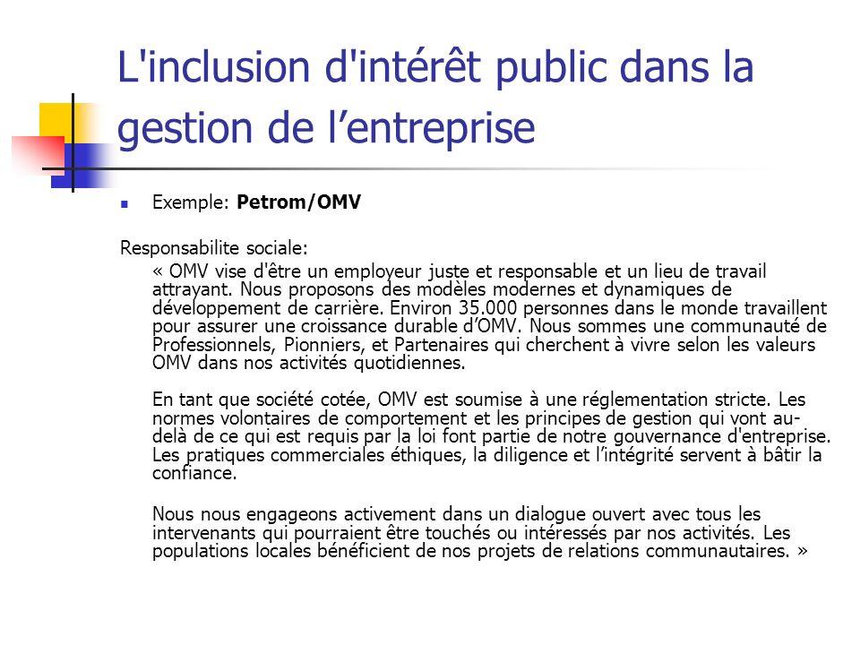 L'inclusion d'intérêt public dans la gestion de lentreprise Exemple: Petrom/OMV Responsabilite sociale: « OMV vise d'être un employeur juste et respon