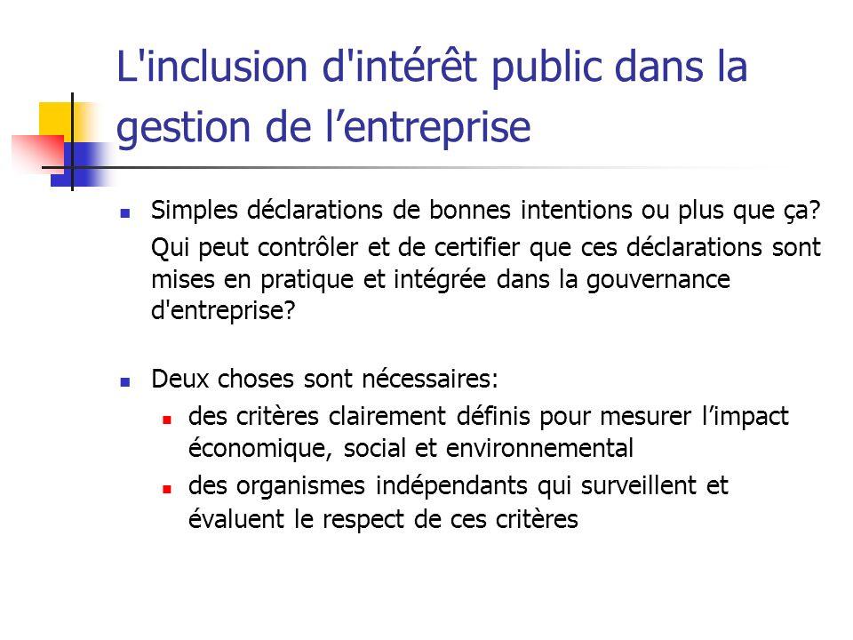 L'inclusion d'intérêt public dans la gestion de lentreprise Simples déclarations de bonnes intentions ou plus que ça? Qui peut contrôler et de certifi