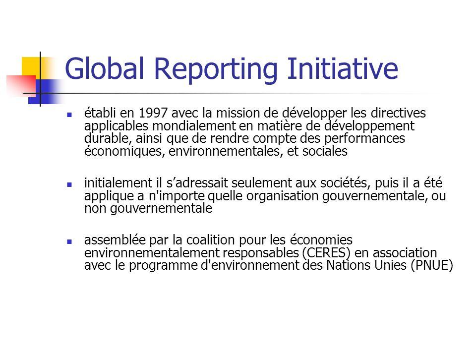 Global Reporting Initiative établi en 1997 avec la mission de développer les directives applicables mondialement en matière de développement durable,