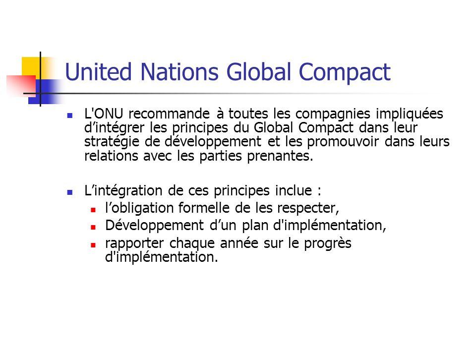 United Nations Global Compact L'ONU recommande à toutes les compagnies impliquées dintégrer les principes du Global Compact dans leur stratégie de dév