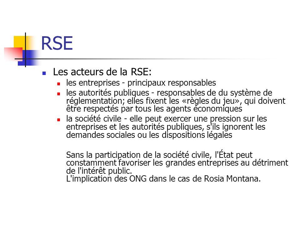 RSE Les acteurs de la RSE: les entreprises - principaux responsables les autorités publiques - responsables de du système de réglementation; elles fix