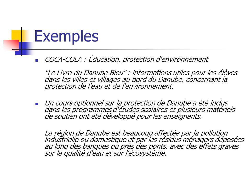 Exemples COCA-COLA : Éducation, protection d'environnement