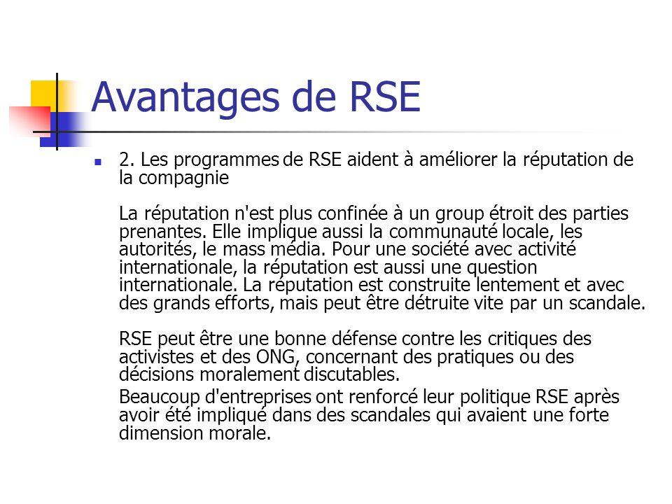 Avantages de RSE 2. Les programmes de RSE aident à améliorer la réputation de la compagnie La réputation n'est plus confinée à un group étroit des par