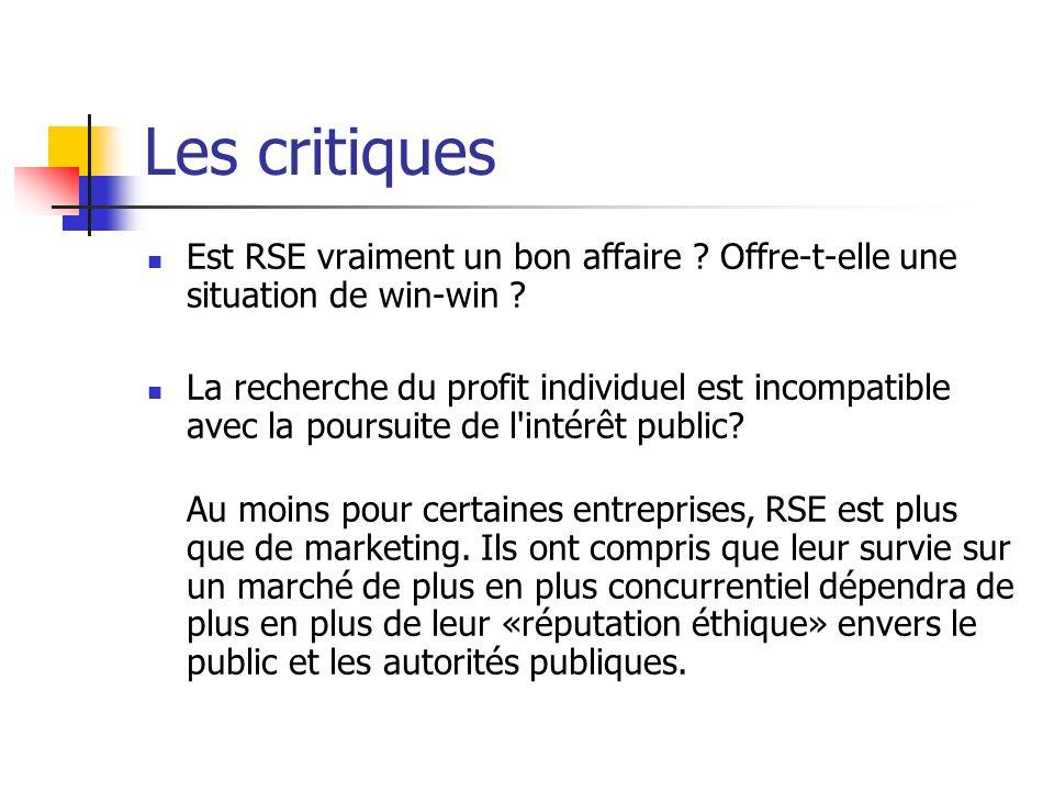 Les critiques Est RSE vraiment un bon affaire ? Offre-t-elle une situation de win-win ? La recherche du profit individuel est incompatible avec la pou