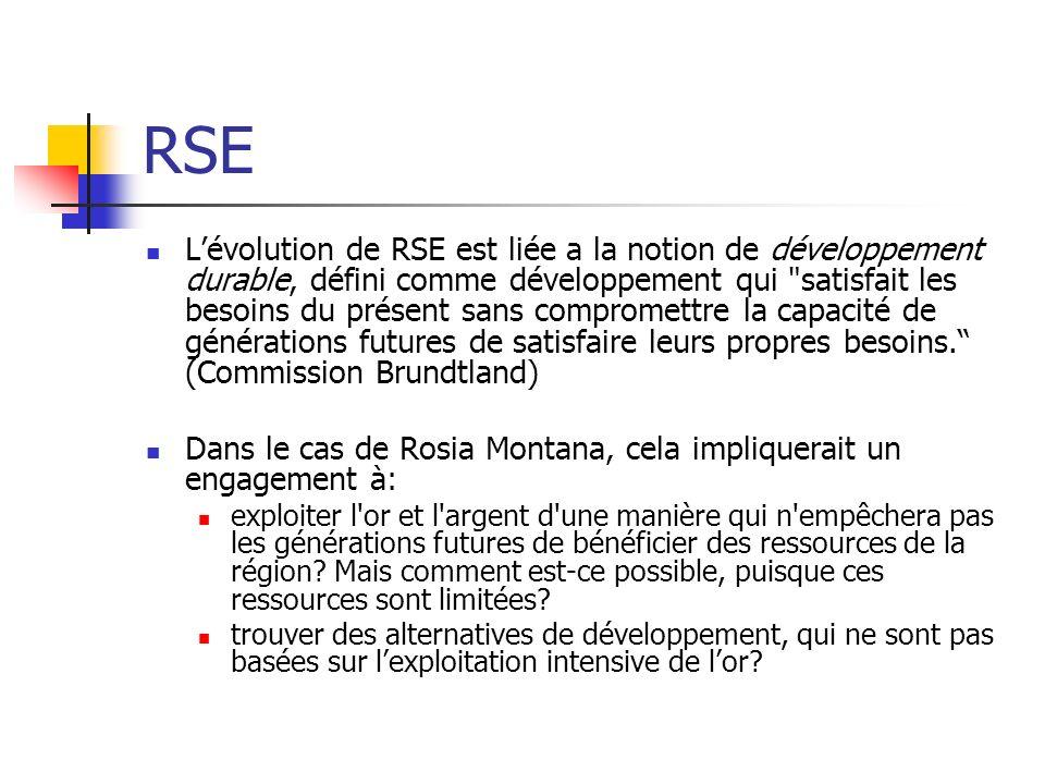 RSE Lévolution de RSE est liée a la notion de développement durable, défini comme développement qui
