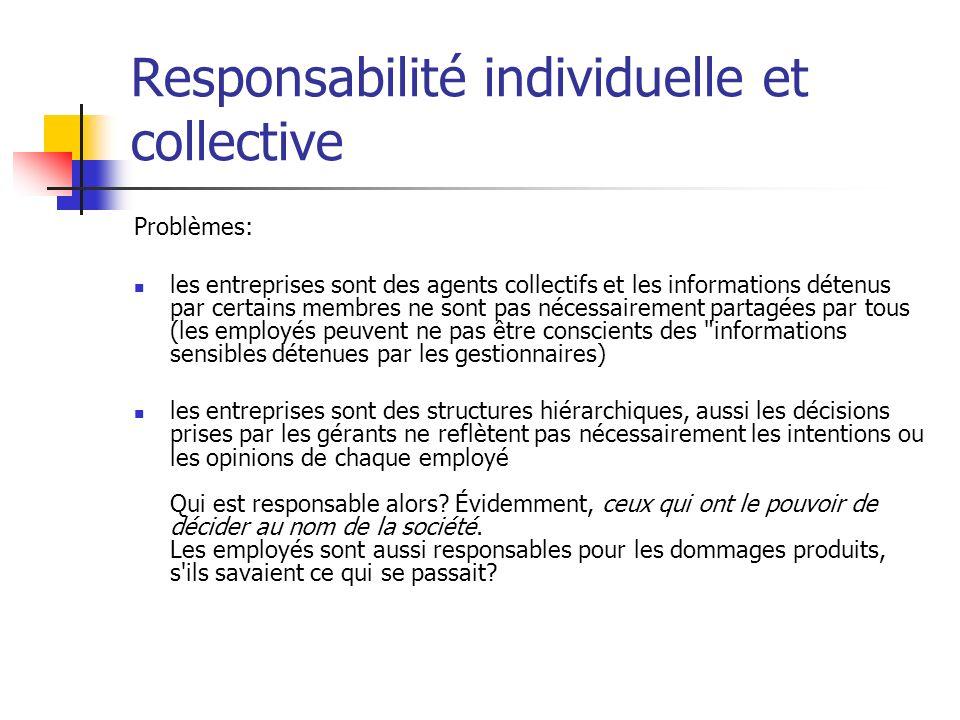 Responsabilité individuelle et collective Problèmes: les entreprises sont des agents collectifs et les informations détenus par certains membres ne so